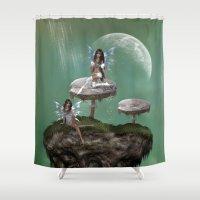 fairies Shower Curtains featuring Dream Fairies by FantasyArtDesigns