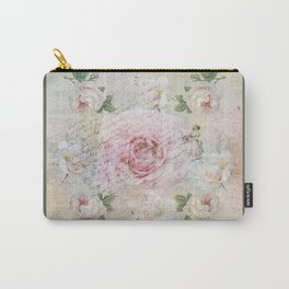 Romantic vintage roses and French handwriting Carry-All Pouch