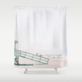 lifeguard station print, printable beach art, beach print, surf art, California print, turquoise Shower Curtain