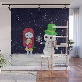Snowman Jack and Sally with Poinsettia Wall Mural