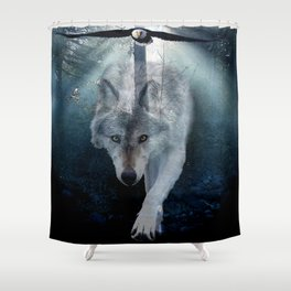 The Gathering - Wolf and Eagle Shower Curtain