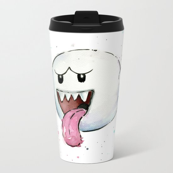 Boo Ghost Mario Watercolor Videogame Geek Painting Metal Travel Mug