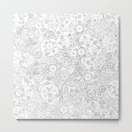 Clockwork B&W / Cogs and clockwork parts lineart pattern Metal Print