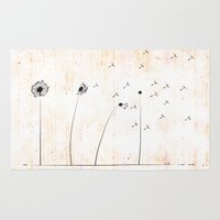 dandelion Area & Throw Rugs featuring Dandelion by AhaC