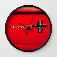 mustang Wall Clocks featuring Mustang by Catherine Doolan