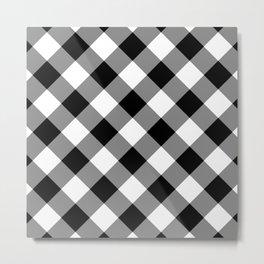 Gingham Plaid Black & White Metal Print