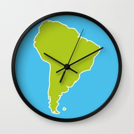 South America map blue ocean and green continent. Vector illustration Wall Clock