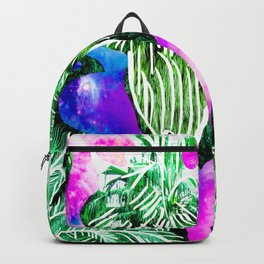 Space Tropic | Modern green tropical palm tree forest photography illustration nebula color block Backpack