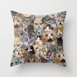 Many expressions of Cats Throw Pillow