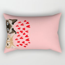 Valentines love cats siamese tabby cat lady gift cute kitten funny cat present for valentines day  Rectangular Pillow