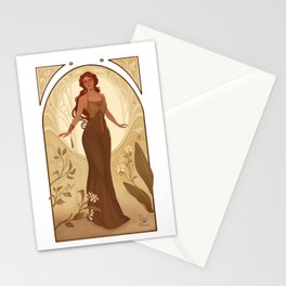 art nouveau green gold Stationery Cards
