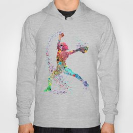 Baseball Softball Pitcher Watercolor Print Art Print Girl's Softball Painting Hoody