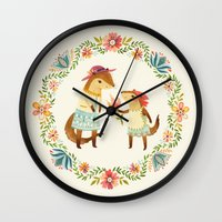 otters Wall Clocks featuring Otterly Grateful by Teagan White