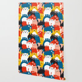 Cats Crowd Pattern Wallpaper