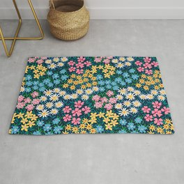 Floral pattern. A field of wild flowers. Cute small flowers. Rug