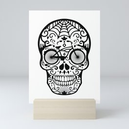 Vintage Mexican Skull with Bicycle - black and white Mini Art Print