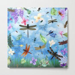 There Be Dragons - Dragonfly Fantasy Metal Print