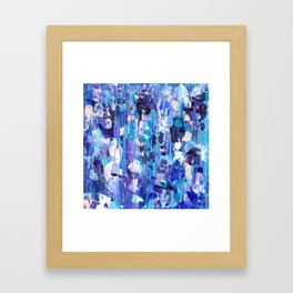 Modern blue acrylic abstract painting brushstrokes Framed Art Print