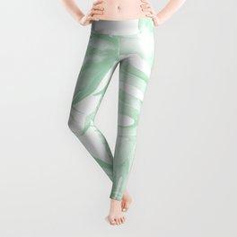 Light Green Tropical Palm Leaves Print Leggings