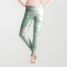 Light Green Tropical Palm Leaves Print Leggings