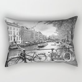 Bicycles parked on bridge over Amsterdam canal Rectangular Pillow