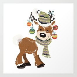 Christmas deer, with baubles in horns. Pretty childish design Art Print