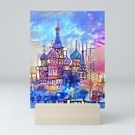 Twilight Stained Glass Saint Basil's Mini Art Print