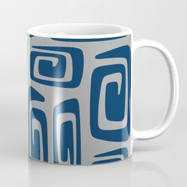 Mid Century Modern Cosmic Abstract 514 Blue and Gray Coffee Mug