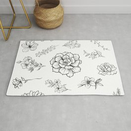 Black and White Floral Pattern With Transparent Background Rug