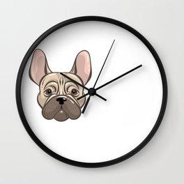 Cute french bulldog muzzle Wall Clock
