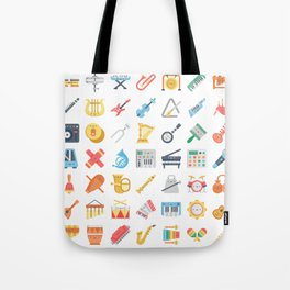 CUTE MUSICAL INSTRUMENTS PATTERN Tote Bag