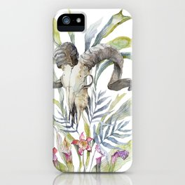 Short Day / Ram Animal Skull and Sarracenia Carnivorous Plant Platycerium Leaves Surreal iPhone Case
