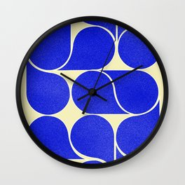 Blue mid-century shapes no8 Wall Clock