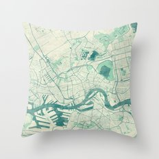 Rotterdam Map Blue Vintage Throw Pillow