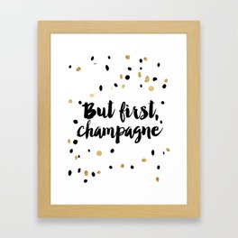 But First, Champagne Print Kitchen Decor Kitchen Wall Art Gold Foil Printable Party Decor Party Sign Framed Art Print