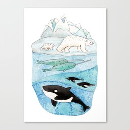 Antarctic whales Canvas Print