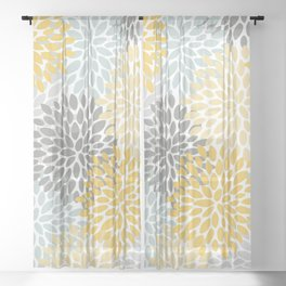 Floral Pattern, Yellow, Pale, Aqua, Blue and Gray Sheer Curtain