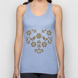 Golden heart shaped floral and bird Unisex Tank Top