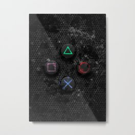 PlayStation buttons splatter Metal Print