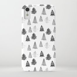 Trees Pattern Black and White iPhone Case