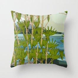 MOUNT FUJY BEHIND BAMBOO Throw Pillow