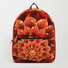 Red Dahlia Fractal Flower with Beautiful Bokeh (Vivid Crimson) Backpack