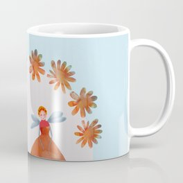 Summer Flower Fairies Watercolor Painting, Mischievous Floral Sprites in Orange & Pink Coffee Mug