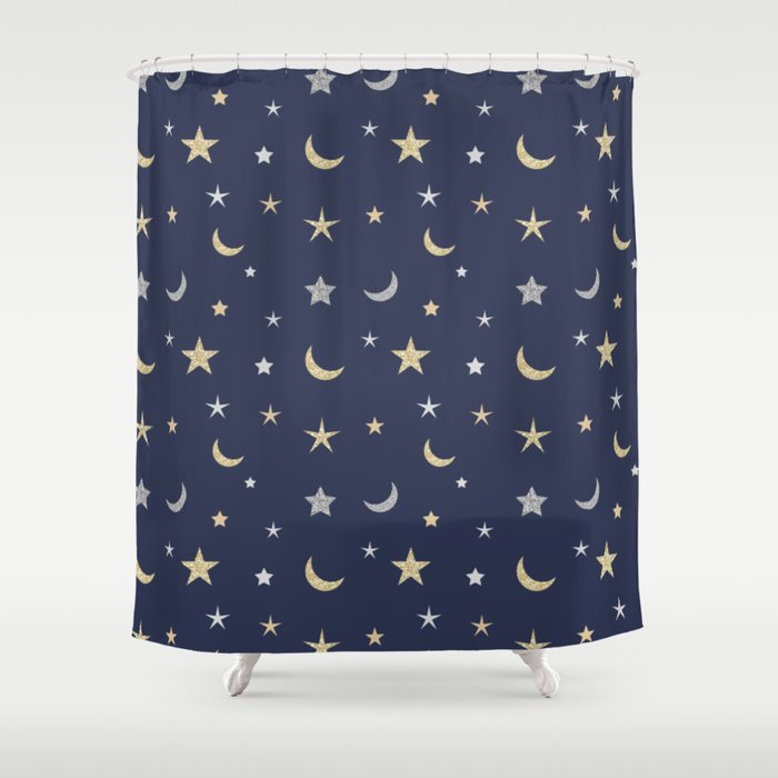 Gold and silver moon and star pattern on navy blue background Shower Curtain
