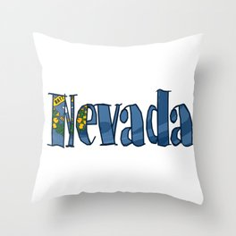 Nevada Font with Nevadan Flag Throw Pillow