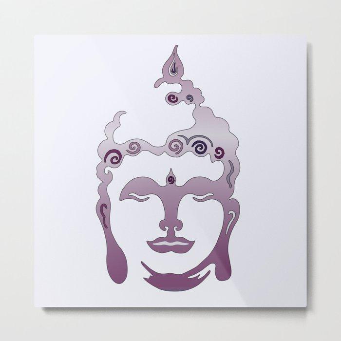 Buddha Head violet - grey Metal Print