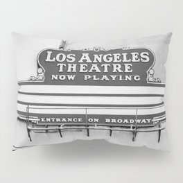 Los Angeles Theatre, Downtown Los Angeles Black and White Photography Pillow Sham