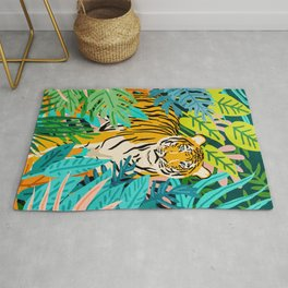 Only 3890 Tigers Left, Wildlife Vibrant Tiger Painting, Jungle Nature Colorful Illustration Rug