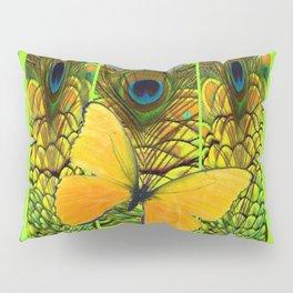 GREEN ART NOUVEAU BUTTERFLY PEACOCK PATTERNS Pillow Sham