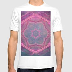 whimsical fractal love in pink MEDIUM Mens Fitted Tee White